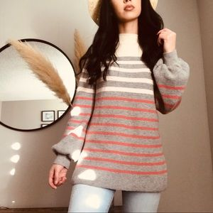 LOFT Ballon Sleeve Striped Sweater (M)